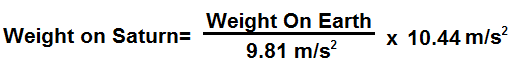Weight on Saturn formula