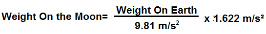 Weight on the moon conversion formula