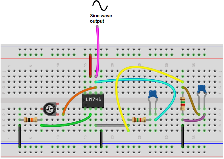 Wien bridge oscillator breadboard circuit built with LM741