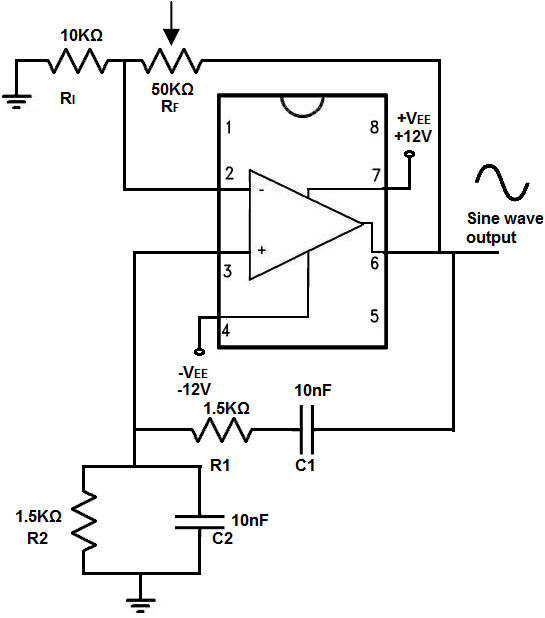 Wien bridge oscillator circuit built with an LM741