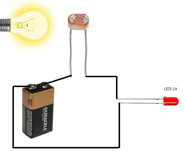Photoresistor Circuit with light