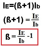 calculating beta from ie emitter current
