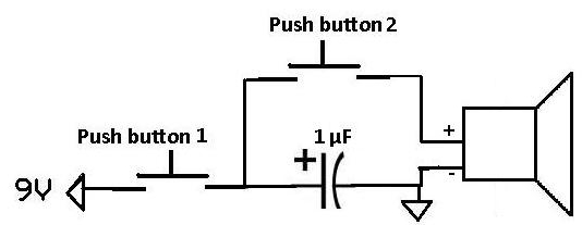Capacitor supplying pulse to speaker