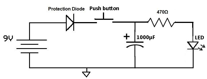 how to use a charged capacitor to light an led rh learningaboutelectronics com Capacitor Discharge Ignition Circuit Capacitor Symbol
