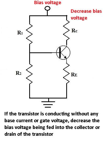 Decrease Transistor bias voltage