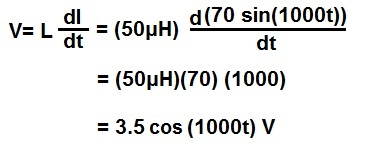 Example of calculating voltage across an inductor