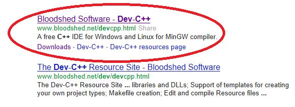 First google search result for Dev C++