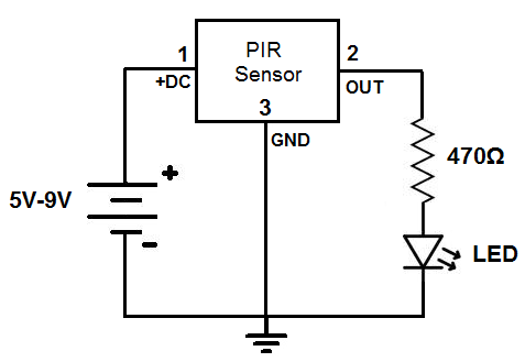 how to build a motion detector circuit rh learningaboutelectronics com pir sensor circuit diagram using lm324 pir sensor circuit