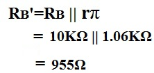 Example of the calculation of Rb prime (Rb') of ac transistor analysis of mid frequency response