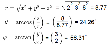 Spherical coordinates example calculation