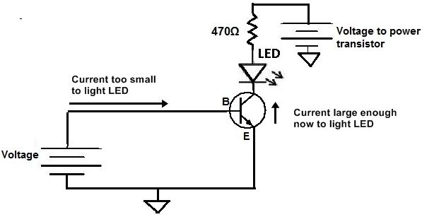 how to connect a transistor in a circuit for current amplification rh learningaboutelectronics com npn transistor circuit example npn transistor wiring diagram