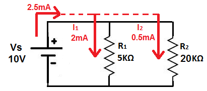 Current Divider Circuit with Voltage Source