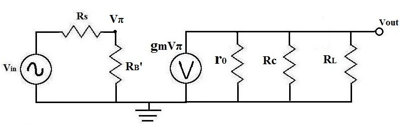 Vpi in an ac equivalent transistor circuit