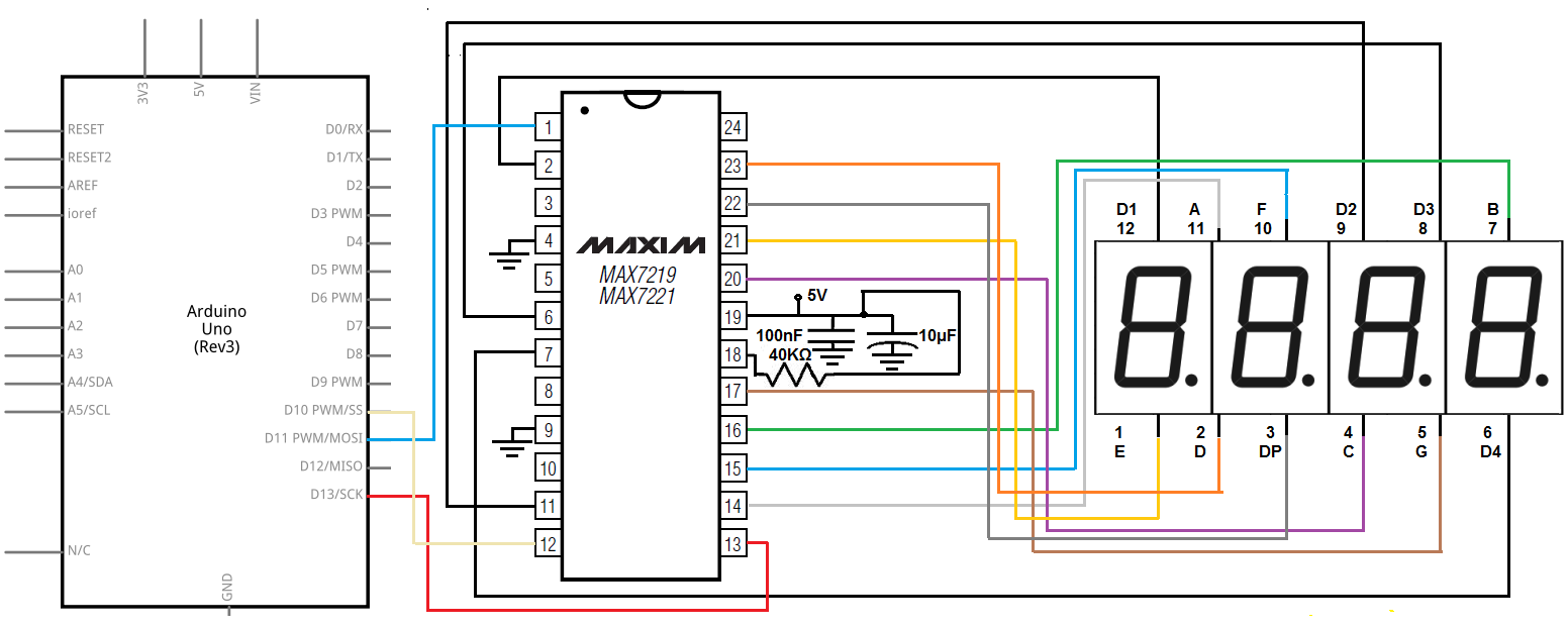 How To Control A 4 Digit 7 Segment Led Display With Max7219 Chip Capacitor Circuit